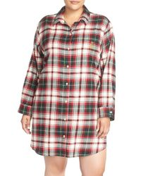 Lauren by Ralph Lauren | Red Brushed Plaid Sleep Shirt | Lyst