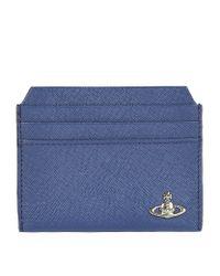 Vivienne Westwood - Blue Saffiano Leather Card Holder for Men - Lyst