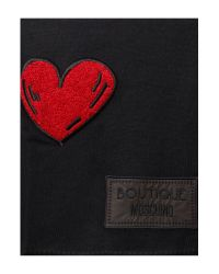 Boutique Moschino | Black Heart Wool Logo Scarf | Lyst