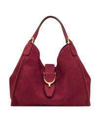 Gucci - Red Soft Stirrup Suede Shoulder Bag - Lyst