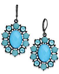 2028 | Hematite-tone Blue Oval Drop Earrings | Lyst