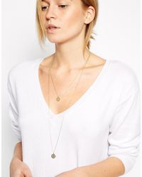 ASOS - Metallic Fine Filigree Disc Multirow Necklace - Lyst