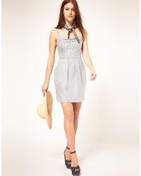 ASOS Collection | Blue Asos Tulip Dress in Stripe | Lyst