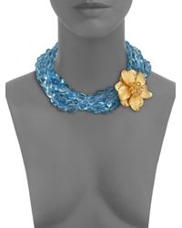 Kenneth Jay Lane - Blue Flower Beaded Multi-strand Necklace - Lyst