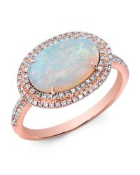 Anne Sisteron - Blue 14kt Rose Gold Double Halo Opal Diamond Cocktail Ring - Lyst