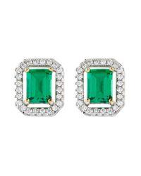 Carat* | Green 0.5ct Emerald Border Asscher Stud Earrings | Lyst