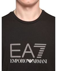 EA7 | Black Logo Printed Cotton Jersey T-shirt for Men | Lyst