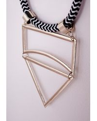 Missguided - Metallic Cut Out Statement Rope Necklace Gold - Lyst