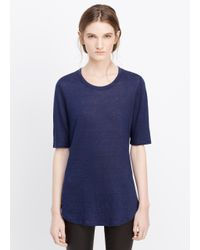 Vince | Blue Elbow Sleeve Linen Tee | Lyst