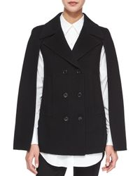 Theory | Black Kapalin New Divide Double-Breasted Cape | Lyst