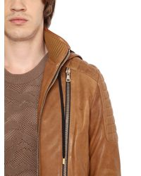 Balmain | Brown Hooded Nappa Leather Moto Jacket for Men | Lyst