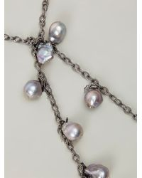 Samira 13 - Metallic Chain And Pearl Necklace - Lyst