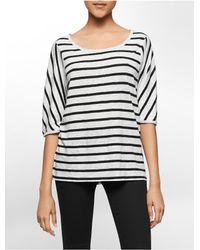 Calvin Klein | Black White Label Striped Linen Raglan Sleeve Top | Lyst