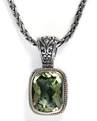 Effy | Green Balissima Sterling Silver With 18kt. Yellow Gold And Lemon Quartz Pendant | Lyst