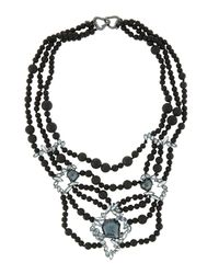 Alexis Bittar | Black Tiered Onyx Bib Necklace W/ Rhinestones | Lyst