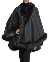 Gorski - Gray Cashmere Cape With Fox Fur Trim - Lyst