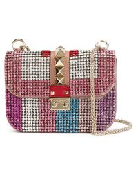 Valentino - Pink Glam Lock Swarovski-Crystal Shoulder Bag - Lyst