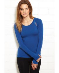 Forever 21 | Blue Mesh-Trimmed Active Top | Lyst