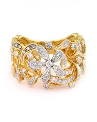 Effy | Metallic D Oro Two Tone 14 Kt Gold Diamond Flower Ring | Lyst