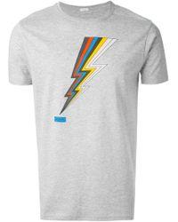 Paul Smith - Gray Lightning Bolt Print T-shirt for Men - Lyst