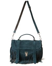 Proenza Schouler | Blue Medium Ps1 Fringe Suede Bag | Lyst