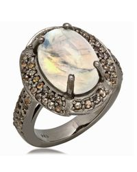 Bavna | Metallic Sterling Silver Ring With Pave Diamonds & Moonstone | Lyst