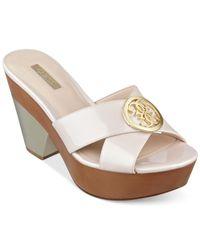 Guess - Pink Camarra Platform Slide Sandals - Lyst