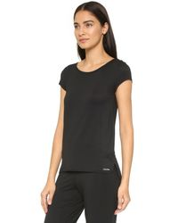 Calvin Klein - Black Short Sleeve Pajama Top - Heather Grey - Lyst