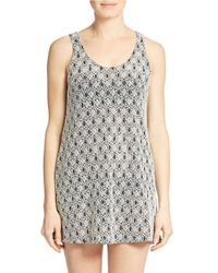 J Valdi | Gray Lace Jacquard Knit Tank Cover-up | Lyst
