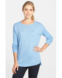 Vince Camuto | Blue Ribbed Sleeve Crewneck Sweater | Lyst