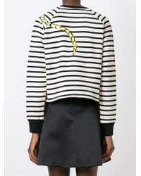 RED Valentino - Natural Lover Patch Striped Sweatshirt - Lyst