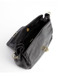 Treesje - Black And White Distressed Leather Buckle Detail 'swell' Shoulder Bag - Lyst