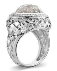 Slane | Metallic Basketwoven Crystal & Diamond Ring | Lyst