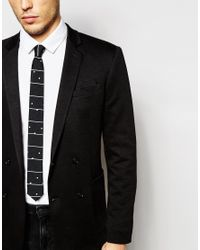 ASOS - Slim Tie In Black Spot Stripe Design for Men - Lyst