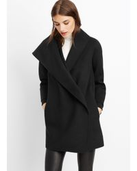 VINCE | Black Wool Drape Front Coat | Lyst