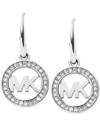 Michael Kors | Metallic Pavé Logo Drop Earrings | Lyst