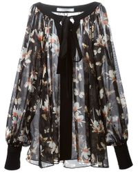 Givenchy - Black Sheer Floral Blouse - Lyst