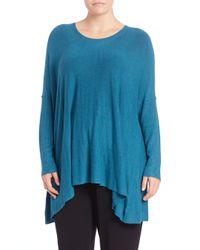 Eileen Fisher | Blue Boxy Scoopneck Sweater | Lyst