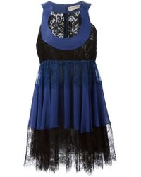 Emilio Pucci - Blue Lace Trim Flared Dress - Lyst