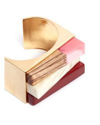 Stella McCartney | Multicolor Mixed Stone Brass Wide Cuff | Lyst