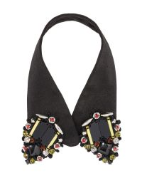 Marni - Black Fabric Collar With Beads In Coloured Glass - Lyst