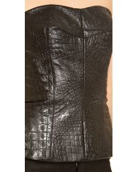 Yigal Azrouël - Black Reptile Leather Bustier - Lyst