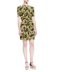 Lanvin - Multicolor Pansy-printed Silk Dress - Lyst