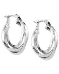 Anne Klein | Metallic Silver-tone 3 Ring Hoop Earrings | Lyst