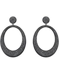 Swarovski | Black Stone Large Pierced Earrings | Lyst