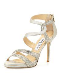 Jimmy Choo   Metallic Tomar Strappy Glitter Sandal   Lyst