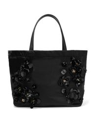 Tory Burch | Black Embellished Twill Tote | Lyst
