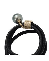 Mizuki | Black Pearl And Diamond Slider Wrap Bracelet/choker | Lyst