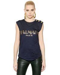 Balmain - Blue Sleeveless Logo Printed Cotton Tshirt - Lyst