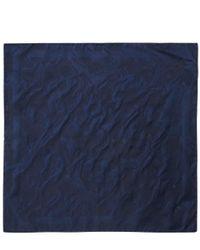 Alexander McQueen - Blue Navy Skull Silk Jacquard Pocket Square for Men - Lyst